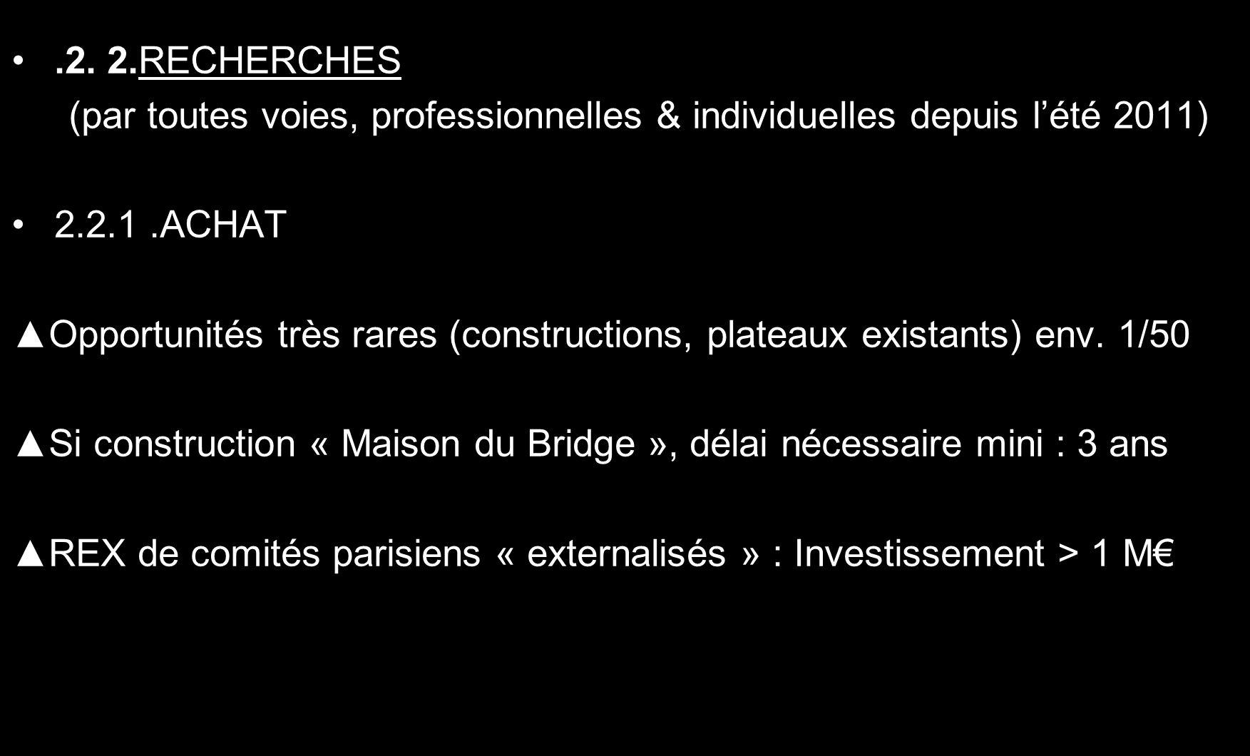 .2. 2.RECHERCHES (par toutes voies, professionnelles & individuelles depuis lété 2011) 2.2.1.ACHAT Opportunités très rares (constructions, plateaux ex