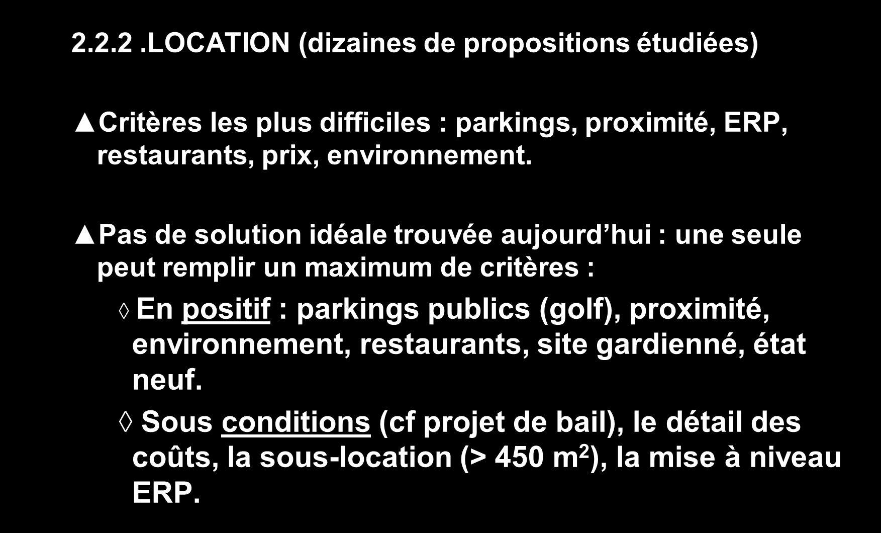 2.2.2.LOCATION (dizaines de propositions étudiées) Critères les plus difficiles : parkings, proximité, ERP, restaurants, prix, environnement. Pas de s