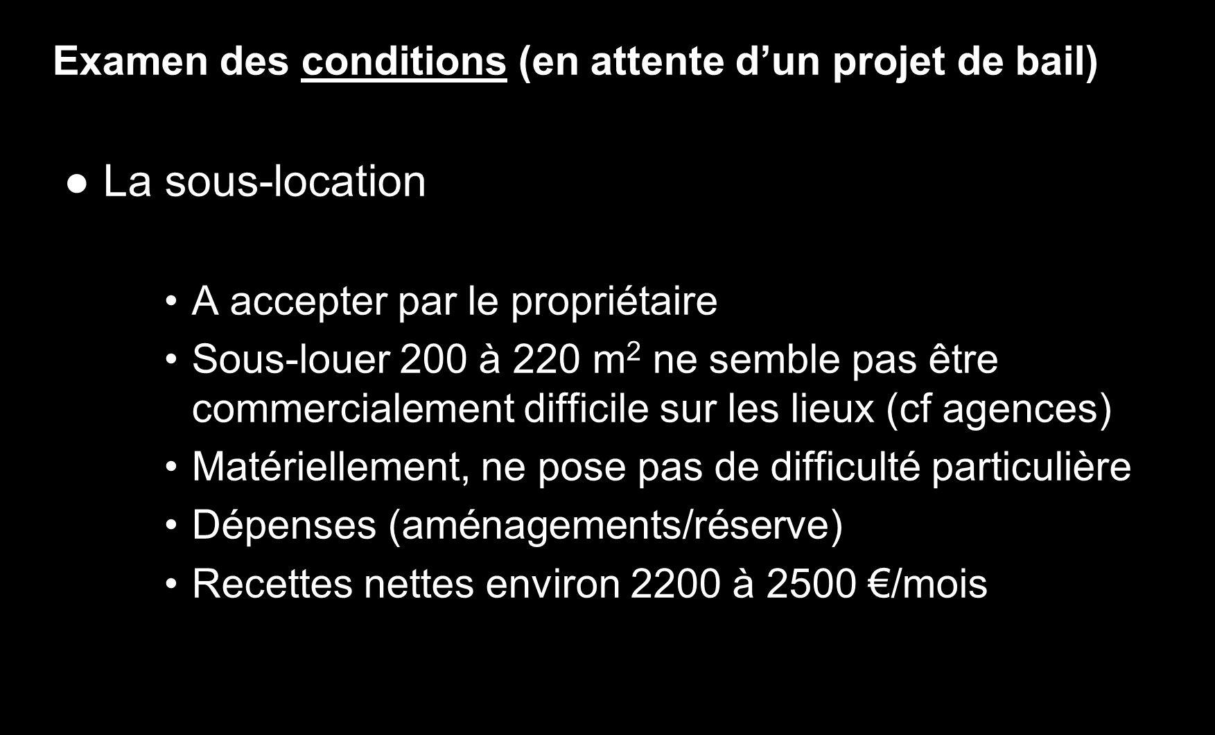 Examen des conditions (en attente dun projet de bail) La sous-location A accepter par le propriétaire Sous-louer 200 à 220 m 2 ne semble pas être comm