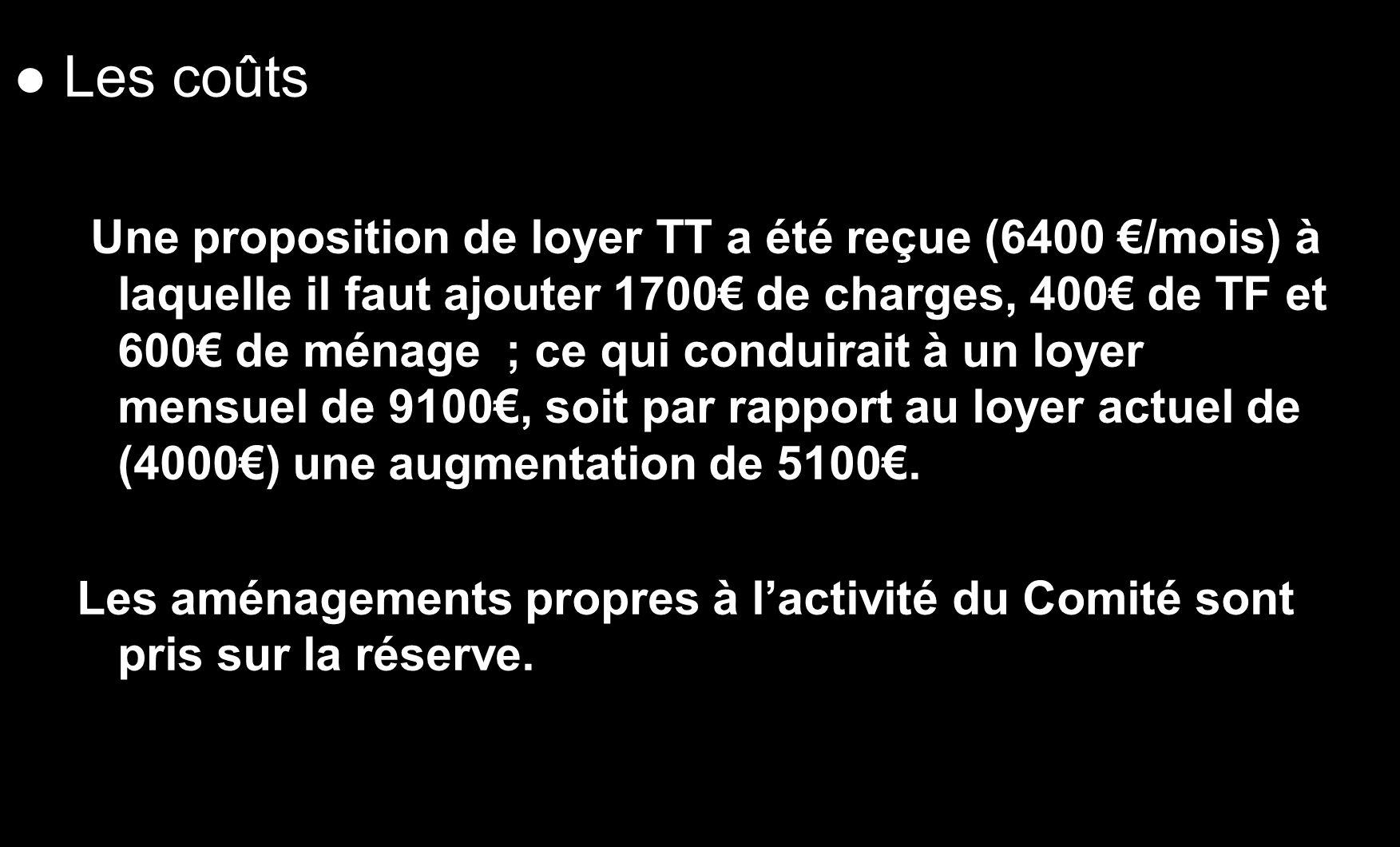 Les coûts Une proposition de loyer TT a été reçue (6400 /mois) à laquelle il faut ajouter 1700 de charges, 400 de TF et 600 de ménage ; ce qui conduir