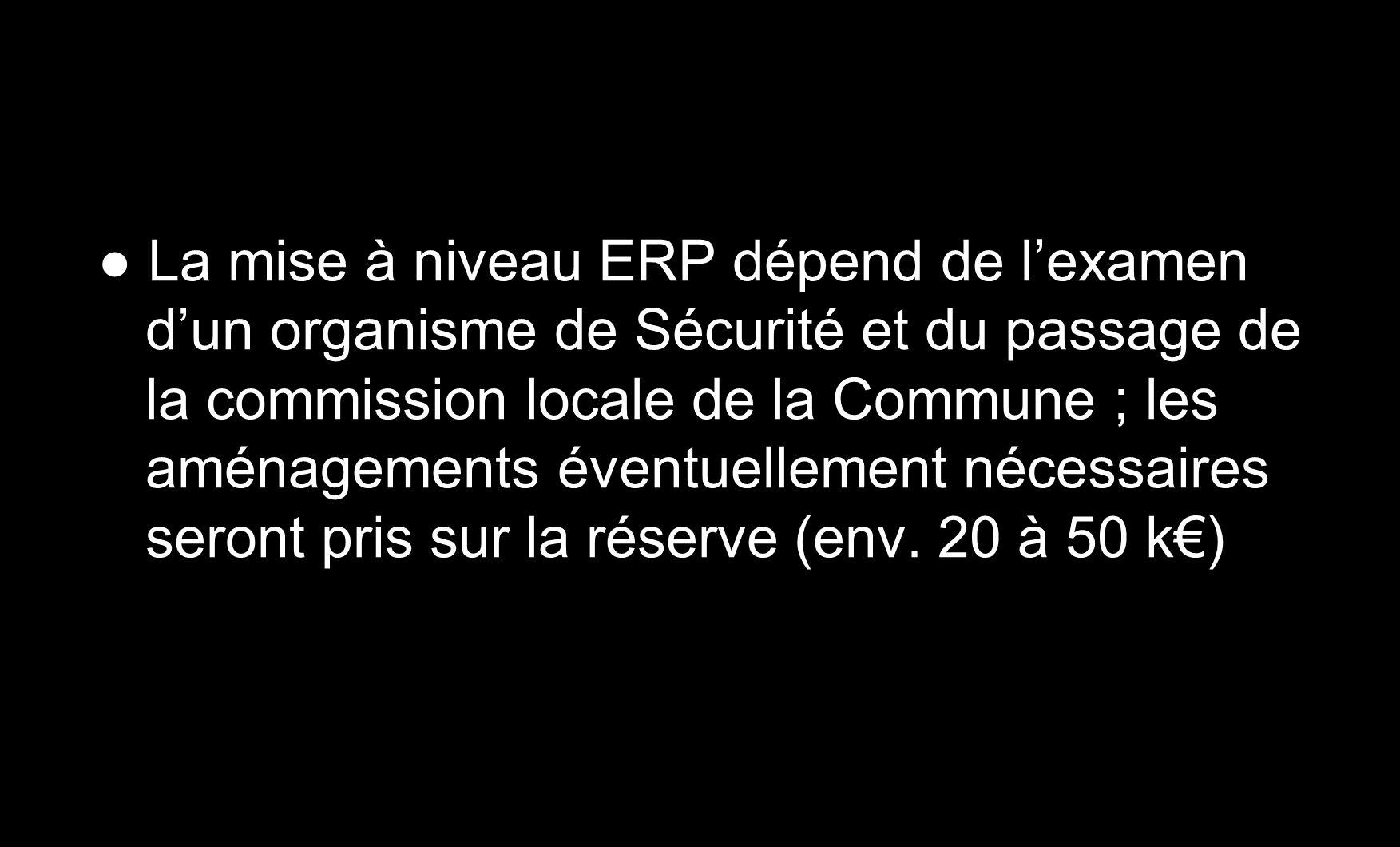 La mise à niveau ERP dépend de lexamen dun organisme de Sécurité et du passage de la commission locale de la Commune ; les aménagements éventuellement