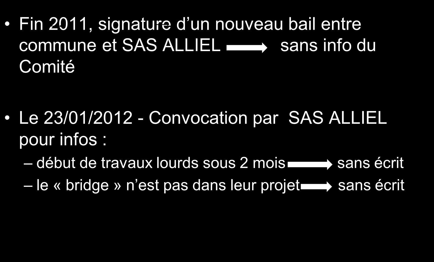 Fin 2011, signature dun nouveau bail entre commune et SAS ALLIEL sans info du Comité Le 23/01/2012 - Convocation par SAS ALLIEL pour infos : –début de