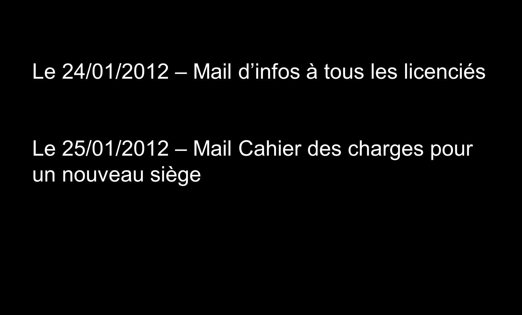 Le 24/01/2012 – Mail dinfos à tous les licenciés Le 25/01/2012 – Mail Cahier des charges pour un nouveau siège