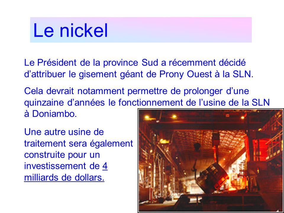Le nickel Le Président de la province Sud a récemment décidé dattribuer le gisement géant de Prony Ouest à la SLN. Cela devrait notamment permettre de