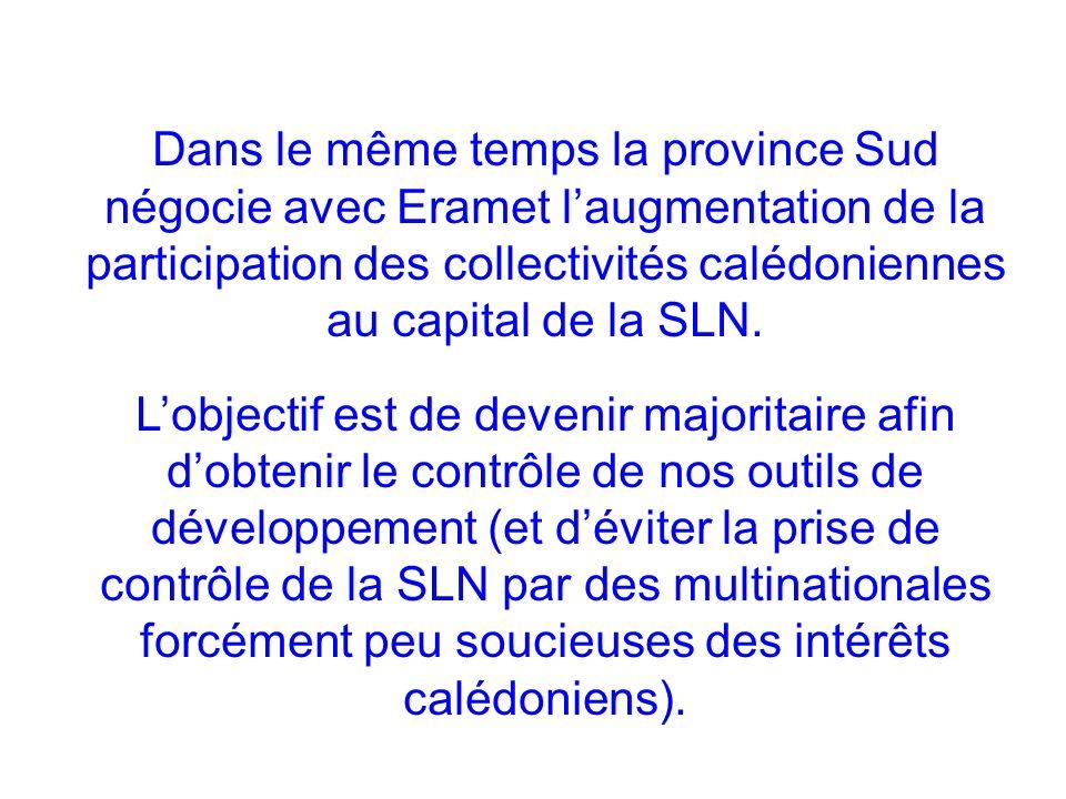 Dans le même temps la province Sud négocie avec Eramet laugmentation de la participation des collectivités calédoniennes au capital de la SLN. Lobject