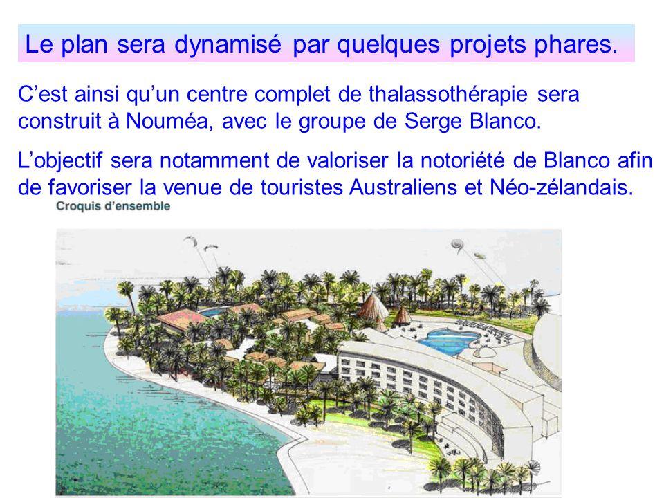 Le plan sera dynamisé par quelques projets phares. Cest ainsi quun centre complet de thalassothérapie sera construit à Nouméa, avec le groupe de Serge