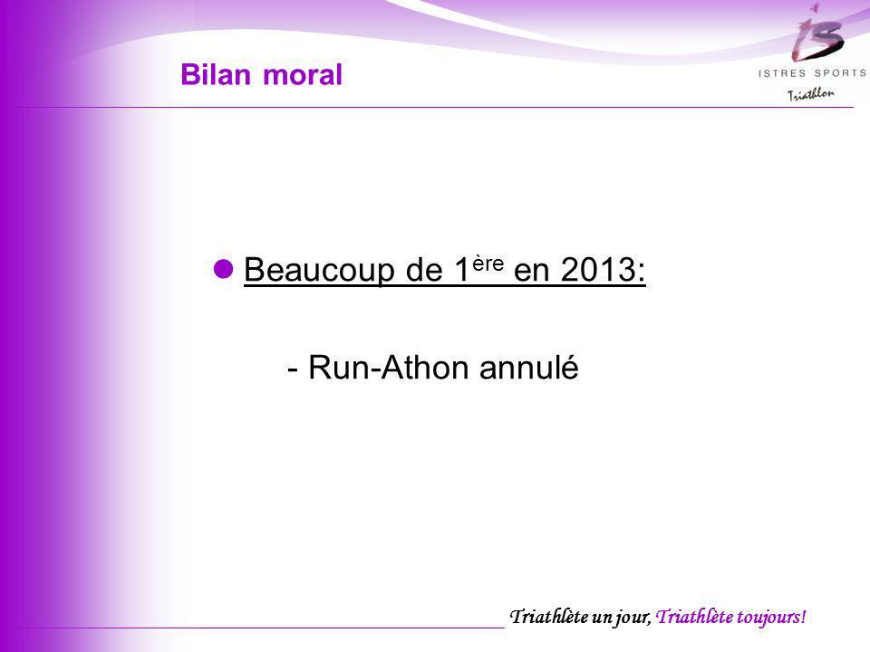 Triathlète un jour, Triathlète toujours! Bilan moral Beaucoup de 1 ère en 2013: - Run-Athon annulé