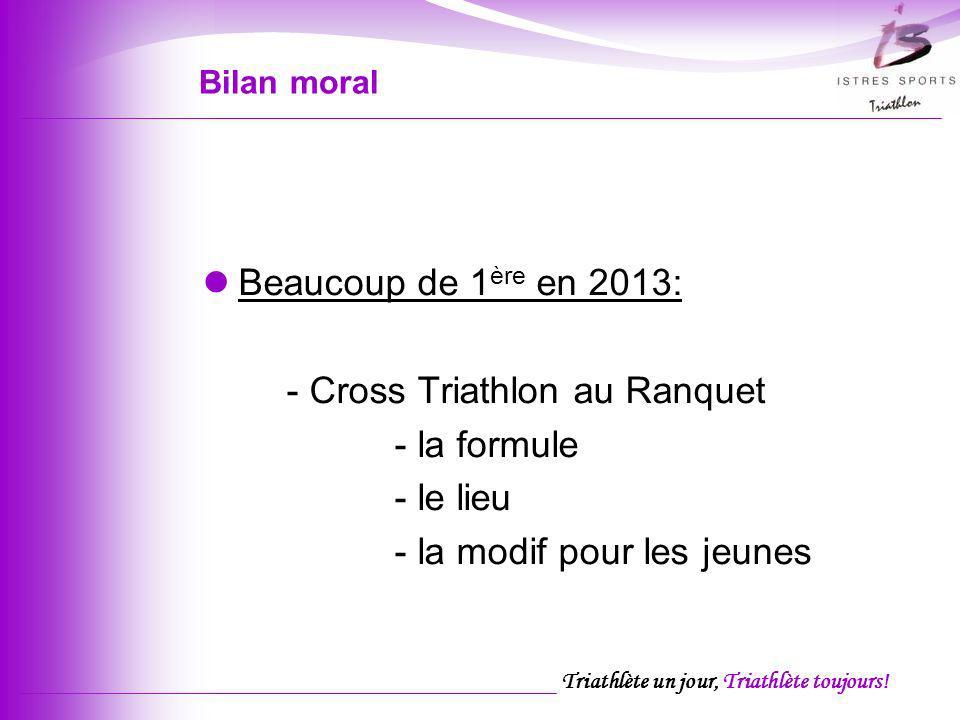 Triathlète un jour, Triathlète toujours! Bilan moral Beaucoup de 1 ère en 2013: - Cross Triathlon au Ranquet - la formule - le lieu - la modif pour le