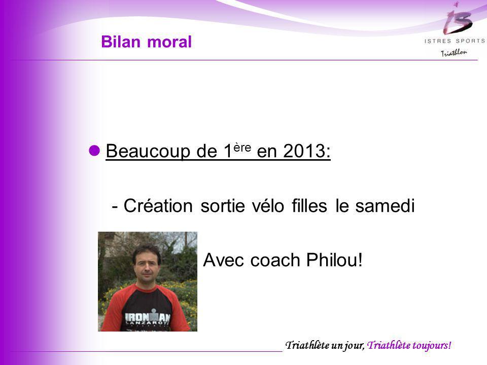 Triathlète un jour, Triathlète toujours! Bilan moral Beaucoup de 1 ère en 2013: - Création sortie vélo filles le samedi Avec coach Philou!