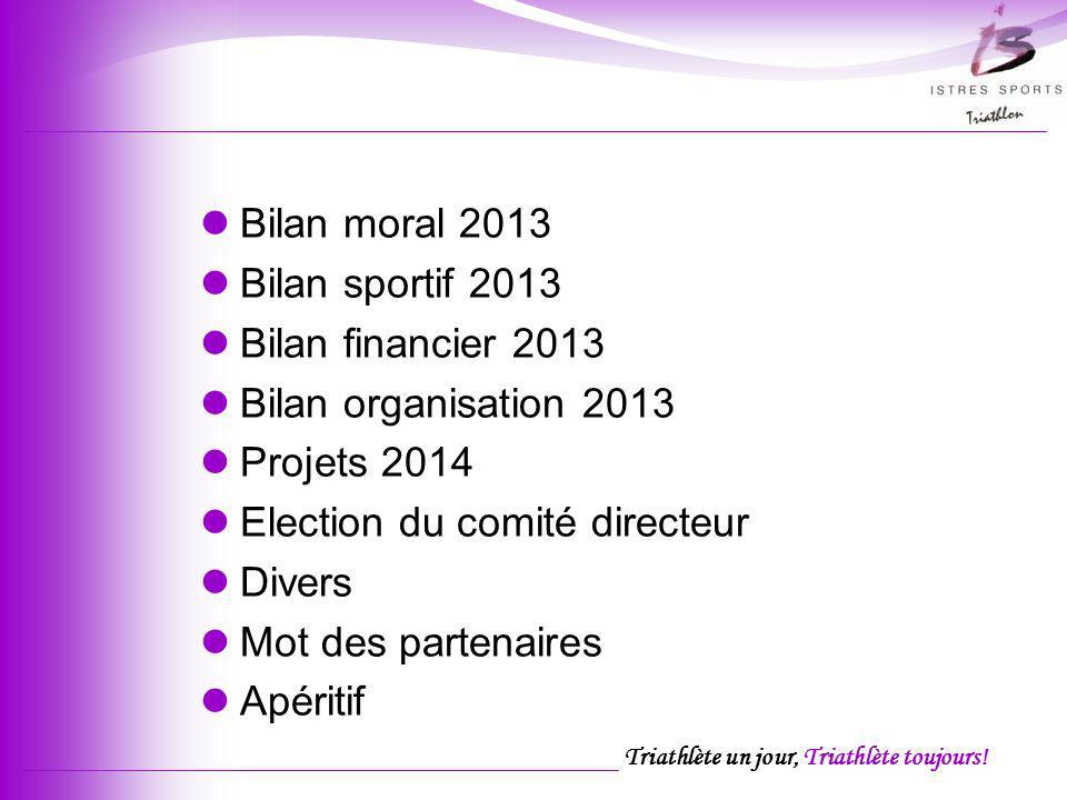 Triathlète un jour, Triathlète toujours! Ordre du jour Bilan moral 2013 Bilan sportif 2013 Bilan financier 2013 Bilan organisation 2013 Projets 2014 E