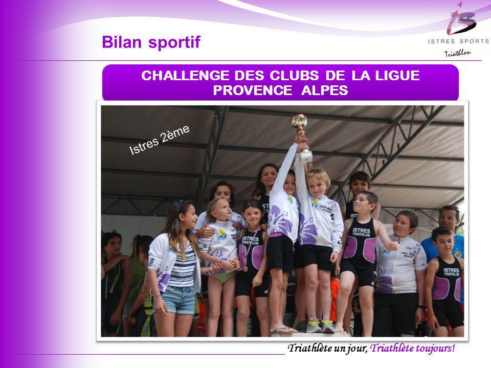 Triathlète un jour, Triathlète toujours! CHALLENGE DES CLUBS DE LA LIGUE PROVENCE ALPES Istres 2ème Bilan sportif