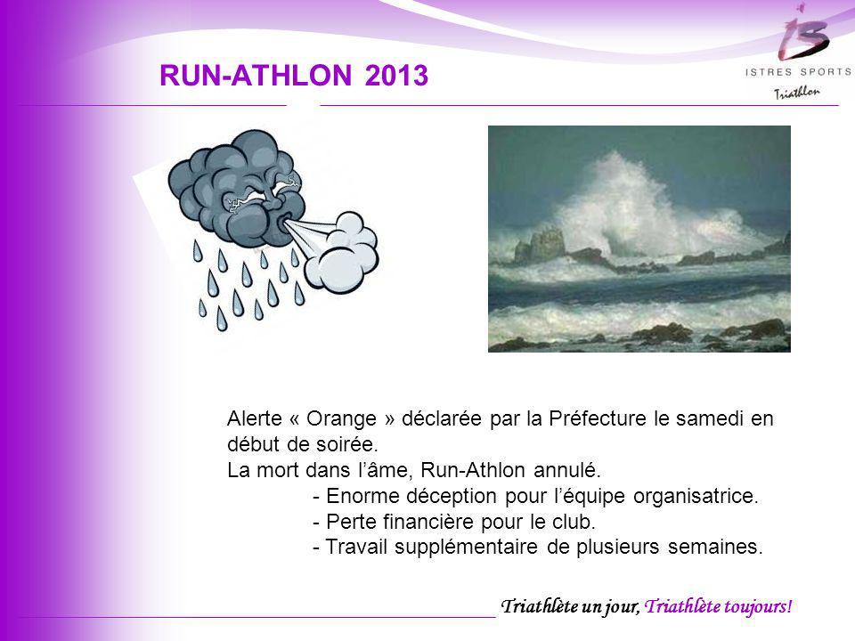 Triathlète un jour, Triathlète toujours! RUN-ATHLON 2013 Alerte « Orange » déclarée par la Préfecture le samedi en début de soirée. La mort dans lâme,