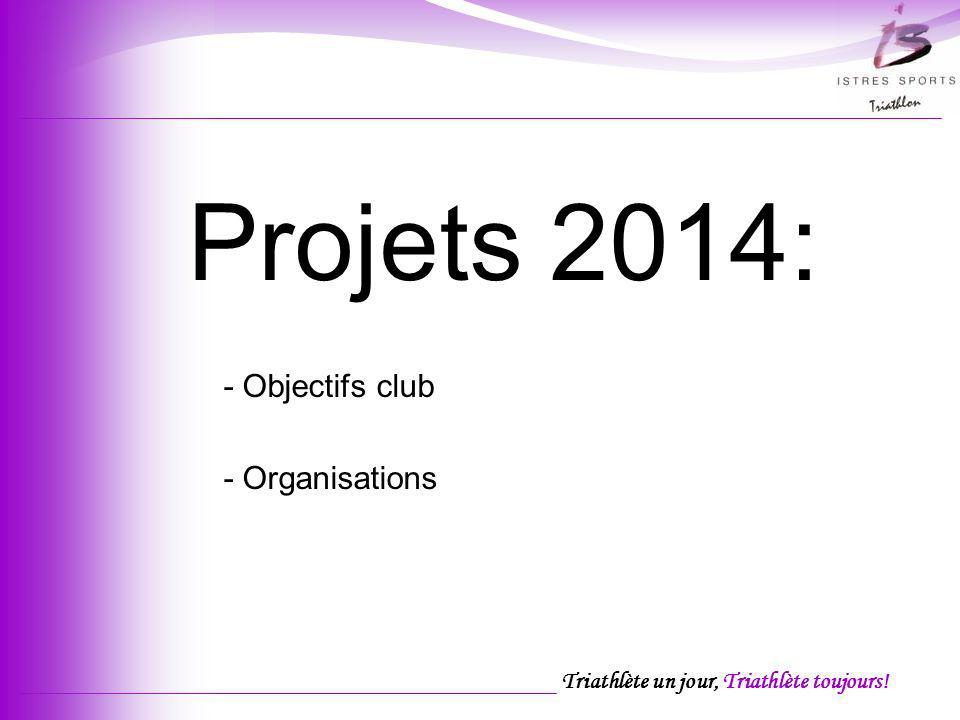 Triathlète un jour, Triathlète toujours! Projets 2014: - Objectifs club - Organisations