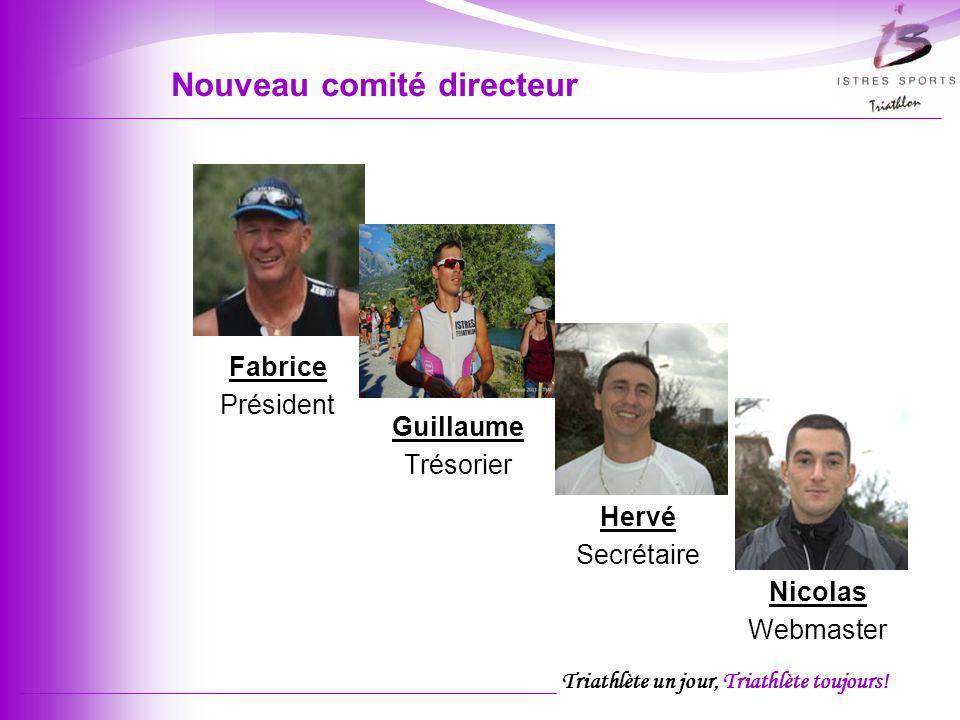 Triathlète un jour, Triathlète toujours! Nouveau comité directeur Nicolas Webmaster Hervé Secrétaire Guillaume Trésorier Fabrice Président