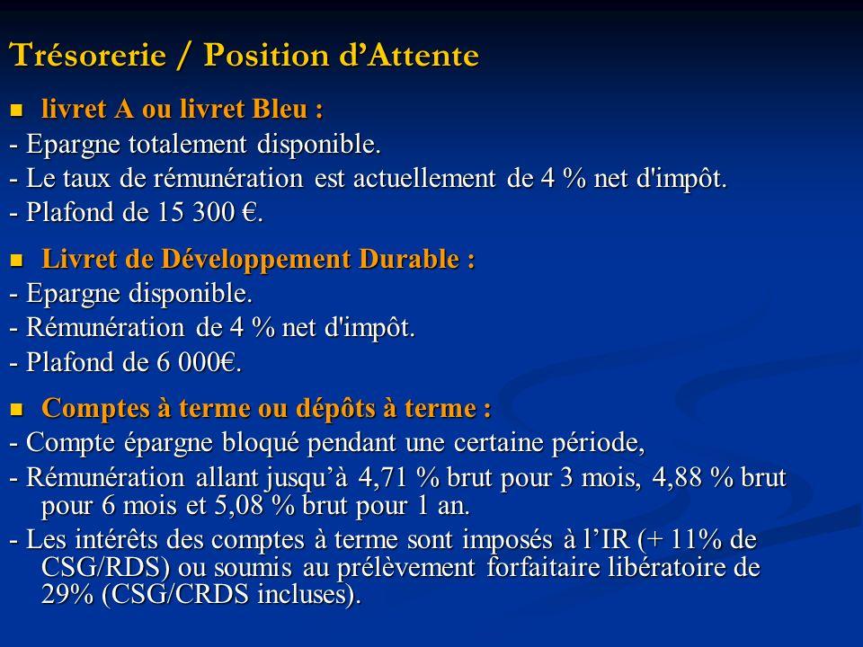Trésorerie / Position dAttente livret A ou livret Bleu : livret A ou livret Bleu : - Epargne totalement disponible.