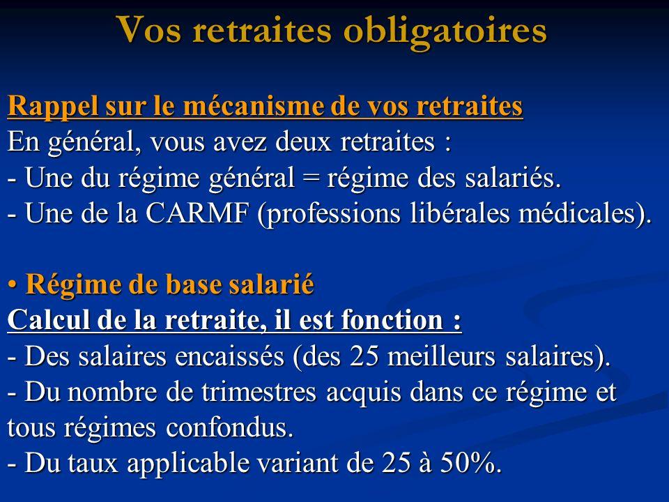 Rappel sur le mécanisme de vos retraites En général, vous avez deux retraites : - Une du régime général = régime des salariés.