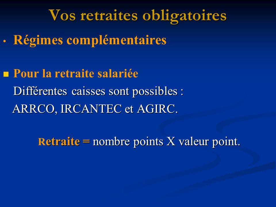 Vos retraites obligatoires Régimes complémentaires Pour la retraite salariée Différentes caisses sont possibles : ARRCO, IRCANTEC et AGIRC.