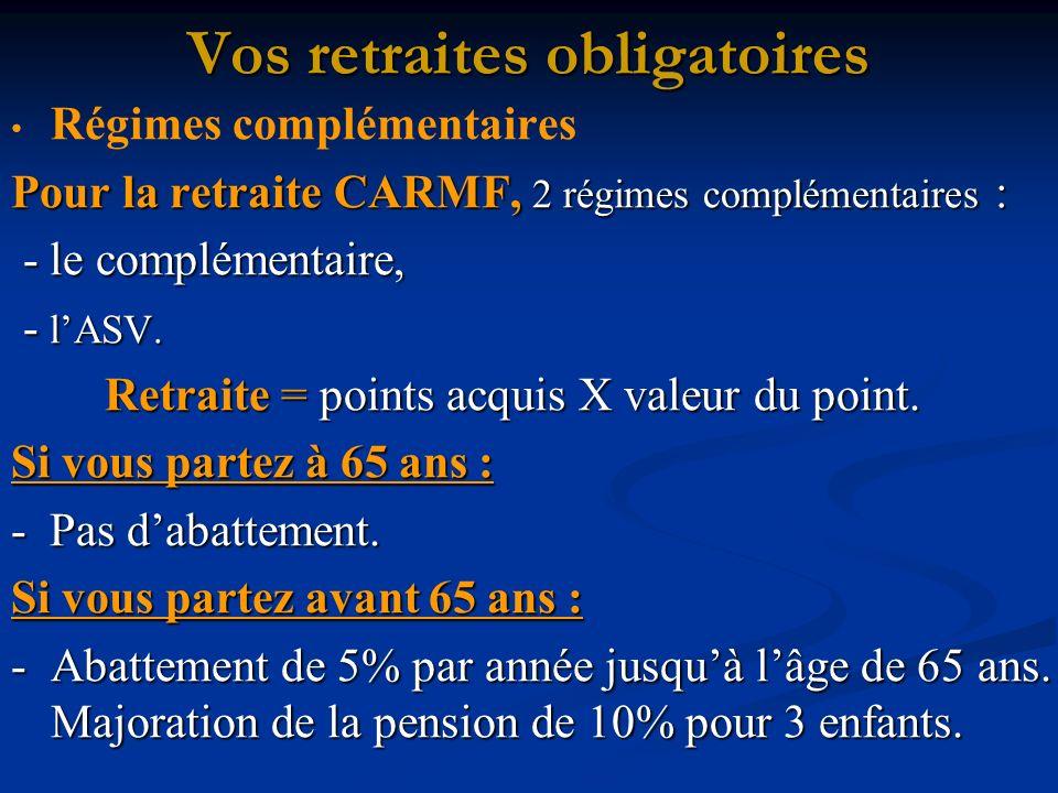 Vos retraites obligatoires Régimes complémentaires Pour la retraite CARMF, 2 régimes complémentaires : - le complémentaire, - le complémentaire, - lASV.