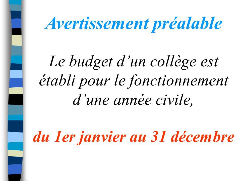 Avertissement préalable Le budget dun collège est établi pour le fonctionnement dune année civile, du 1er janvier au 31 décembre