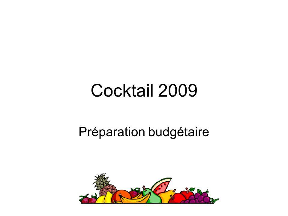 Cocktail 2009 Préparation budgétaire