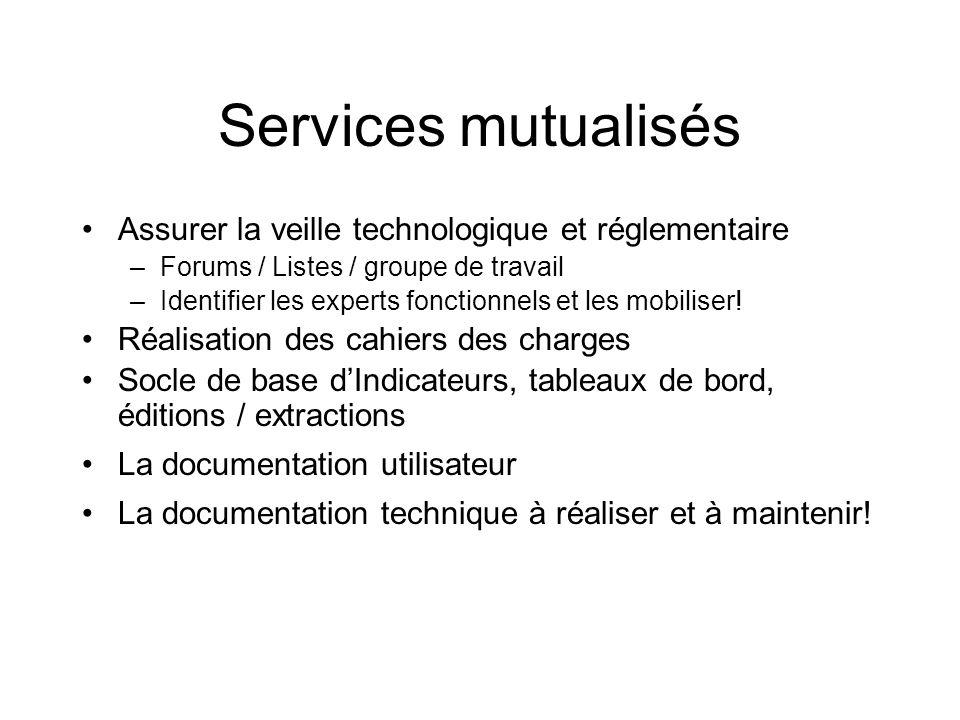 Services mutualisés Assurer la veille technologique et réglementaire –Forums / Listes / groupe de travail –Identifier les experts fonctionnels et les mobiliser.