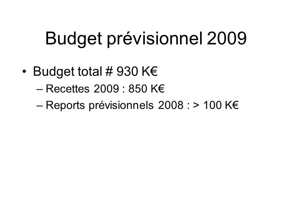 Budget prévisionnel 2009 Budget total # 930 K –Recettes 2009 : 850 K –Reports prévisionnels 2008 : > 100 K
