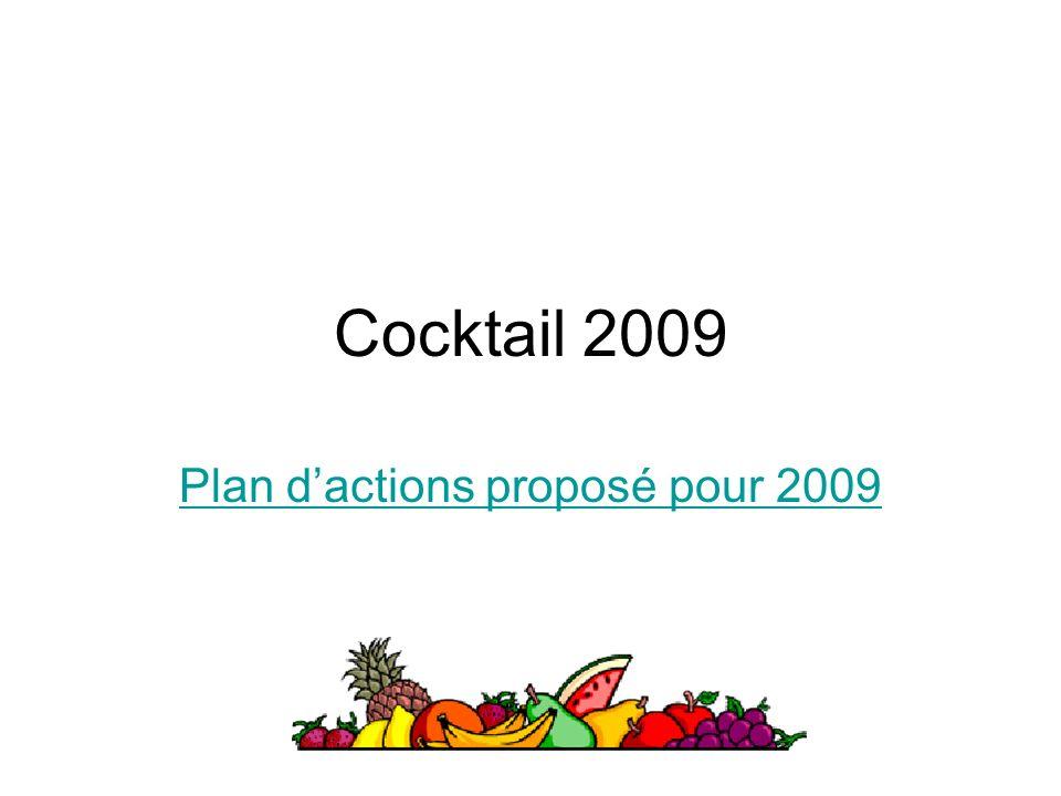 Cocktail 2009 Plan dactions proposé pour 2009