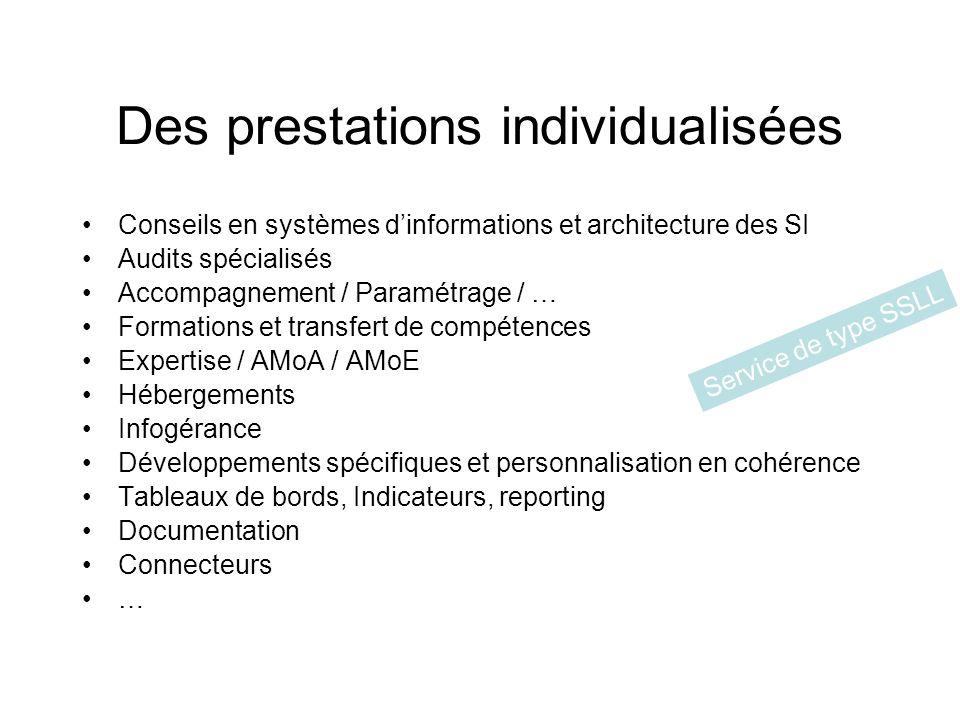 Des prestations individualisées Conseils en systèmes dinformations et architecture des SI Audits spécialisés Accompagnement / Paramétrage / … Formatio