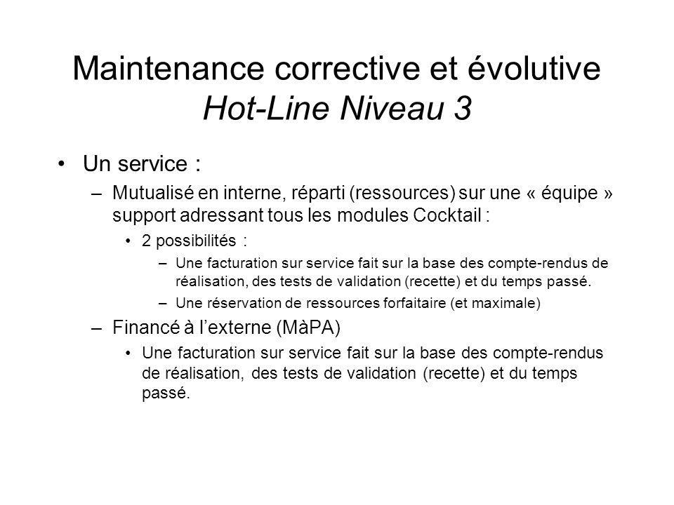 Maintenance corrective et évolutive Hot-Line Niveau 3 Un service : –Mutualisé en interne, réparti (ressources) sur une « équipe » support adressant to