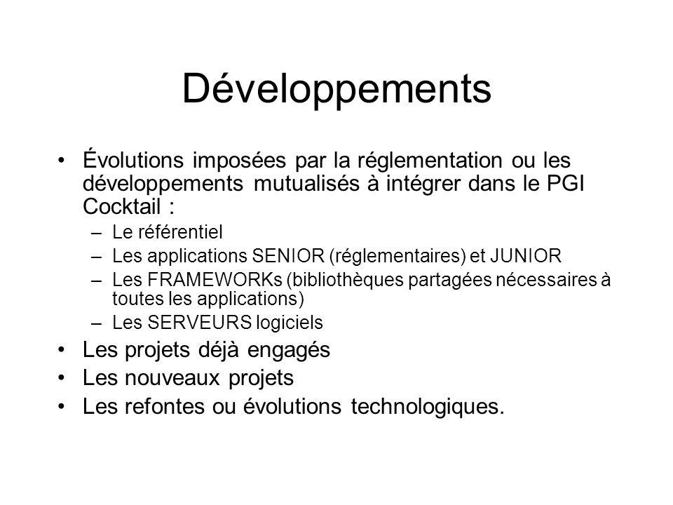 Développements Évolutions imposées par la réglementation ou les développements mutualisés à intégrer dans le PGI Cocktail : –Le référentiel –Les appli