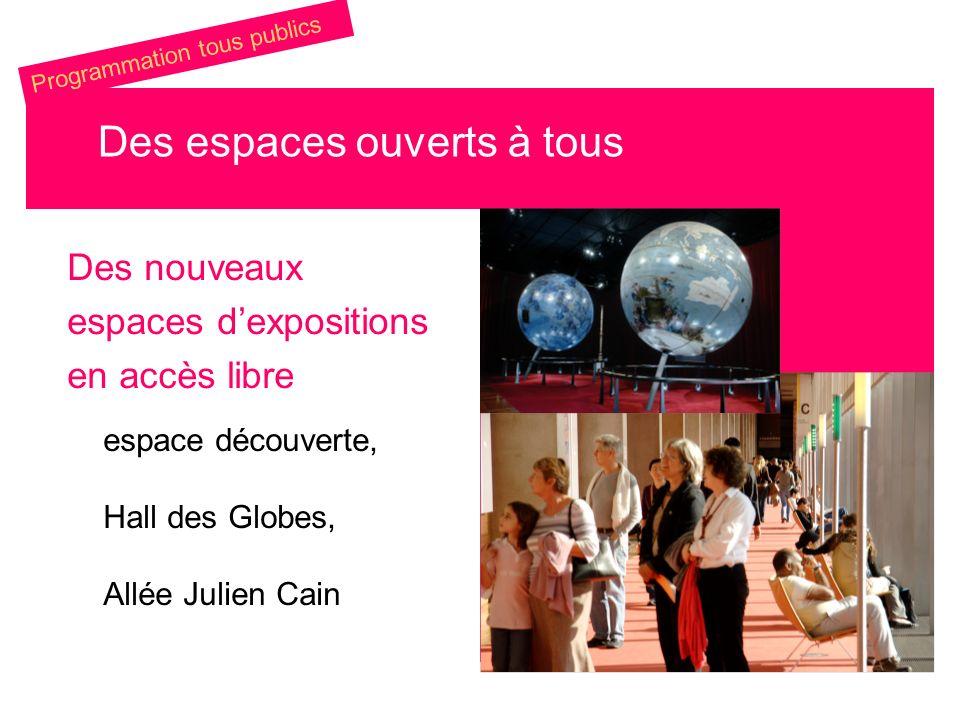 Des nouveaux espaces dexpositions en accès libre espace découverte, Hall des Globes, Allée Julien Cain Des espaces ouverts à tous Programmation tous p