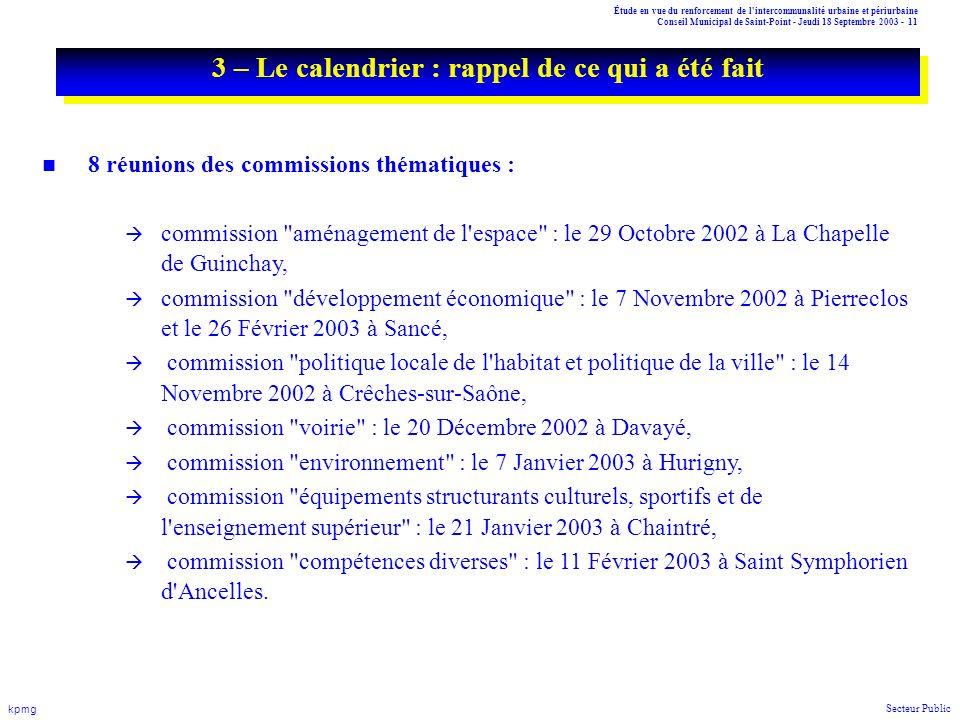Étude en vue du renforcement de l'intercommunalité urbaine et périurbaine Conseil Municipal de Saint-Point - Jeudi 18 Septembre 2003 - 11 kpmg Secteur