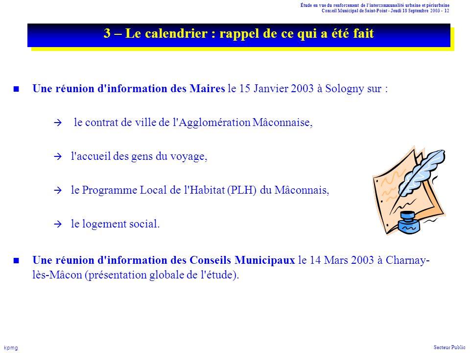 Étude en vue du renforcement de l'intercommunalité urbaine et périurbaine Conseil Municipal de Saint-Point - Jeudi 18 Septembre 2003 - 12 kpmg Secteur