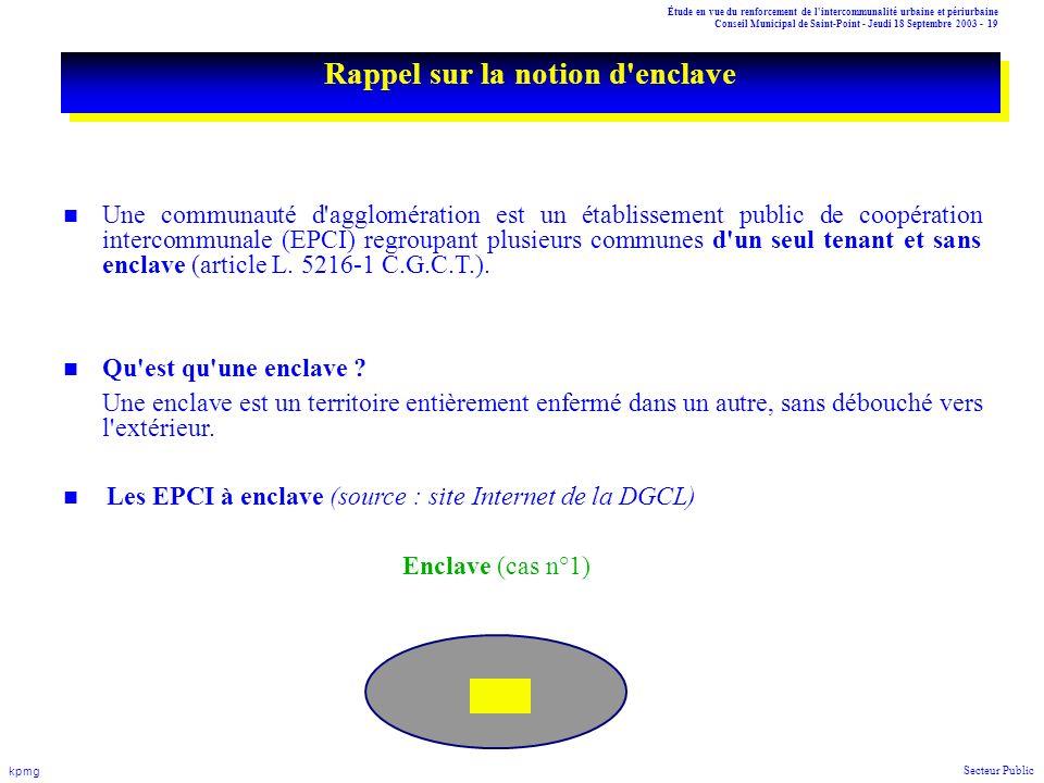 Étude en vue du renforcement de l'intercommunalité urbaine et périurbaine Conseil Municipal de Saint-Point - Jeudi 18 Septembre 2003 - 19 kpmg Secteur