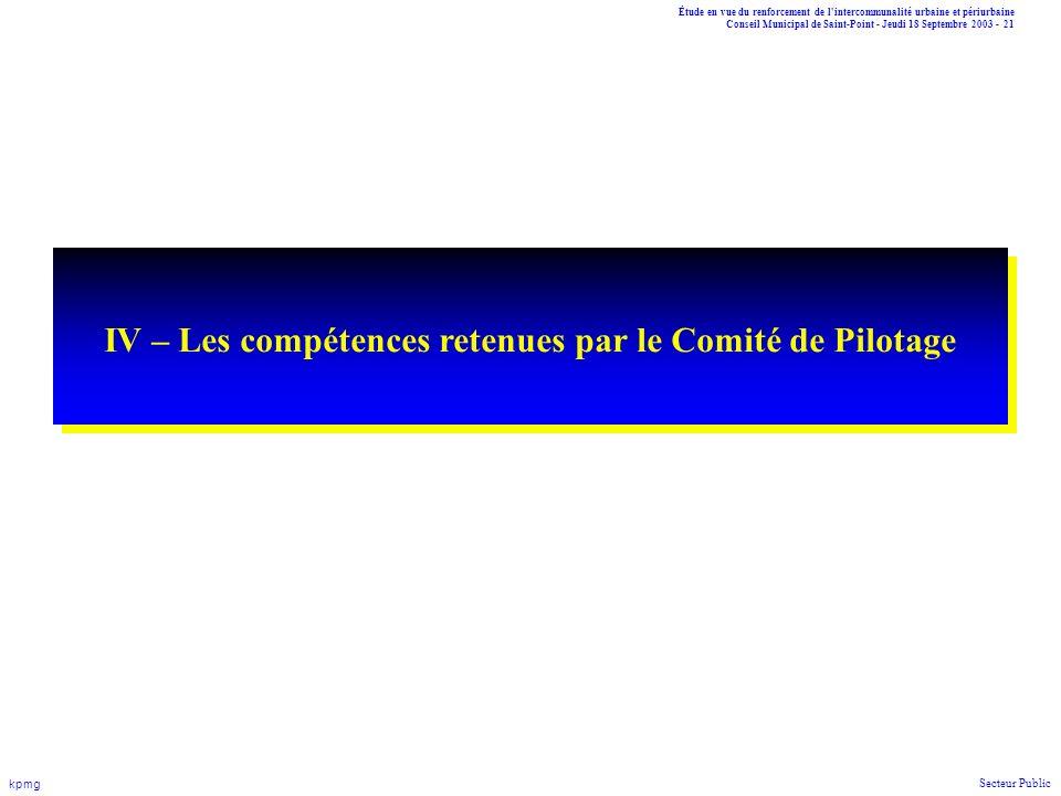 Étude en vue du renforcement de l'intercommunalité urbaine et périurbaine Conseil Municipal de Saint-Point - Jeudi 18 Septembre 2003 - 21 kpmg Secteur