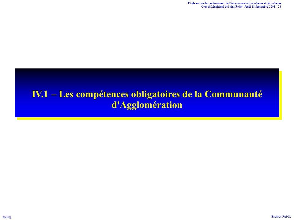 Étude en vue du renforcement de l'intercommunalité urbaine et périurbaine Conseil Municipal de Saint-Point - Jeudi 18 Septembre 2003 - 23 kpmg Secteur