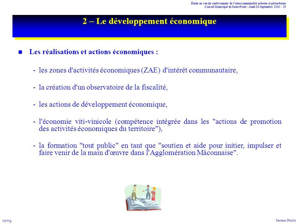 Étude en vue du renforcement de l'intercommunalité urbaine et périurbaine Conseil Municipal de Saint-Point - Jeudi 18 Septembre 2003 - 25 kpmg Secteur