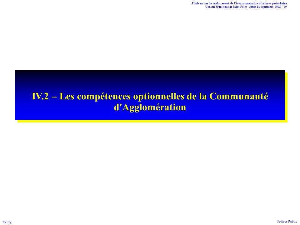 Étude en vue du renforcement de l'intercommunalité urbaine et périurbaine Conseil Municipal de Saint-Point - Jeudi 18 Septembre 2003 - 29 kpmg Secteur