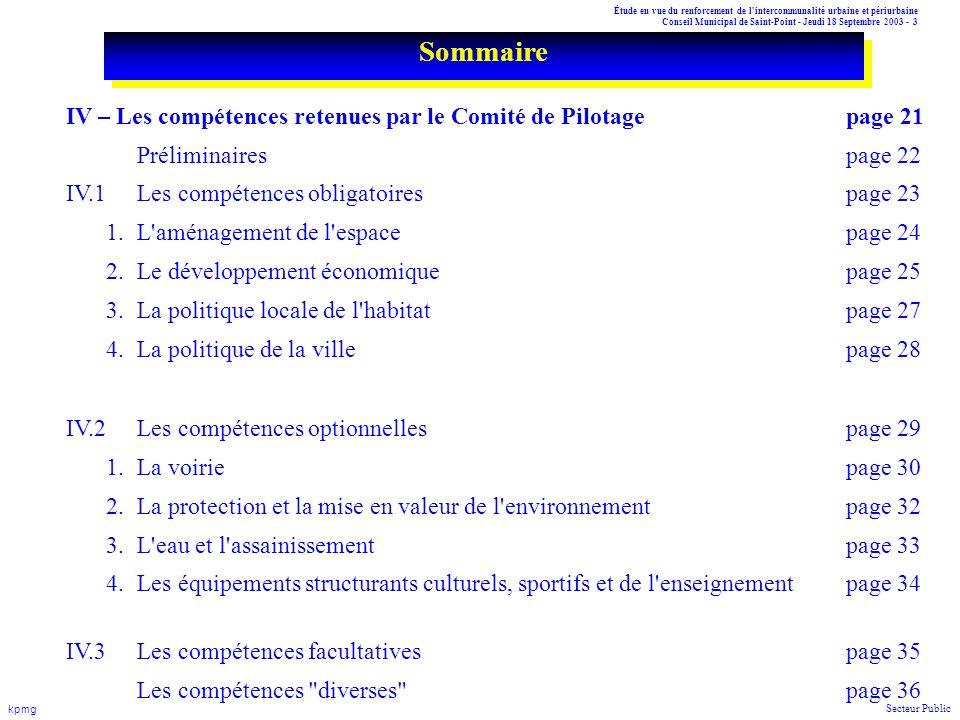 Étude en vue du renforcement de l'intercommunalité urbaine et périurbaine Conseil Municipal de Saint-Point - Jeudi 18 Septembre 2003 - 3 kpmg Secteur