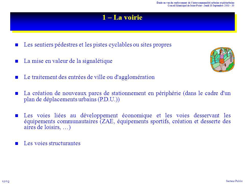 Étude en vue du renforcement de l'intercommunalité urbaine et périurbaine Conseil Municipal de Saint-Point - Jeudi 18 Septembre 2003 - 30 kpmg Secteur