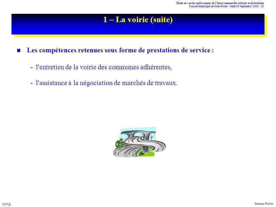 Étude en vue du renforcement de l'intercommunalité urbaine et périurbaine Conseil Municipal de Saint-Point - Jeudi 18 Septembre 2003 - 31 kpmg Secteur