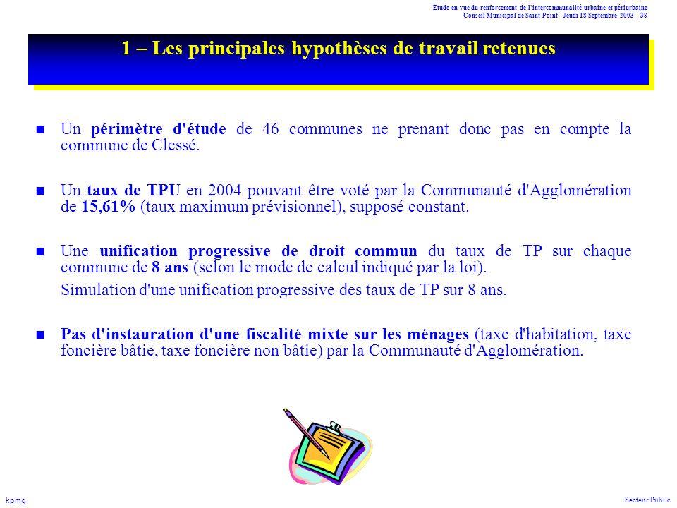 Étude en vue du renforcement de l'intercommunalité urbaine et périurbaine Conseil Municipal de Saint-Point - Jeudi 18 Septembre 2003 - 38 kpmg Secteur