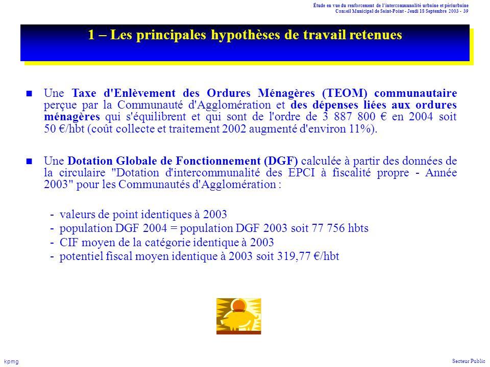 Étude en vue du renforcement de l'intercommunalité urbaine et périurbaine Conseil Municipal de Saint-Point - Jeudi 18 Septembre 2003 - 39 kpmg Secteur