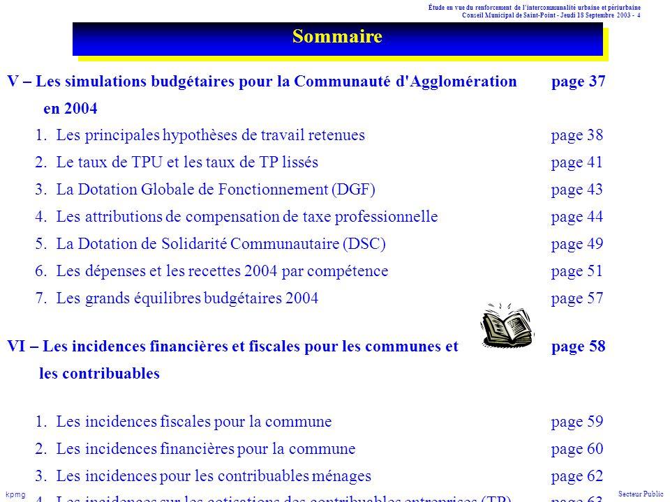 Étude en vue du renforcement de l'intercommunalité urbaine et périurbaine Conseil Municipal de Saint-Point - Jeudi 18 Septembre 2003 - 4 kpmg Secteur