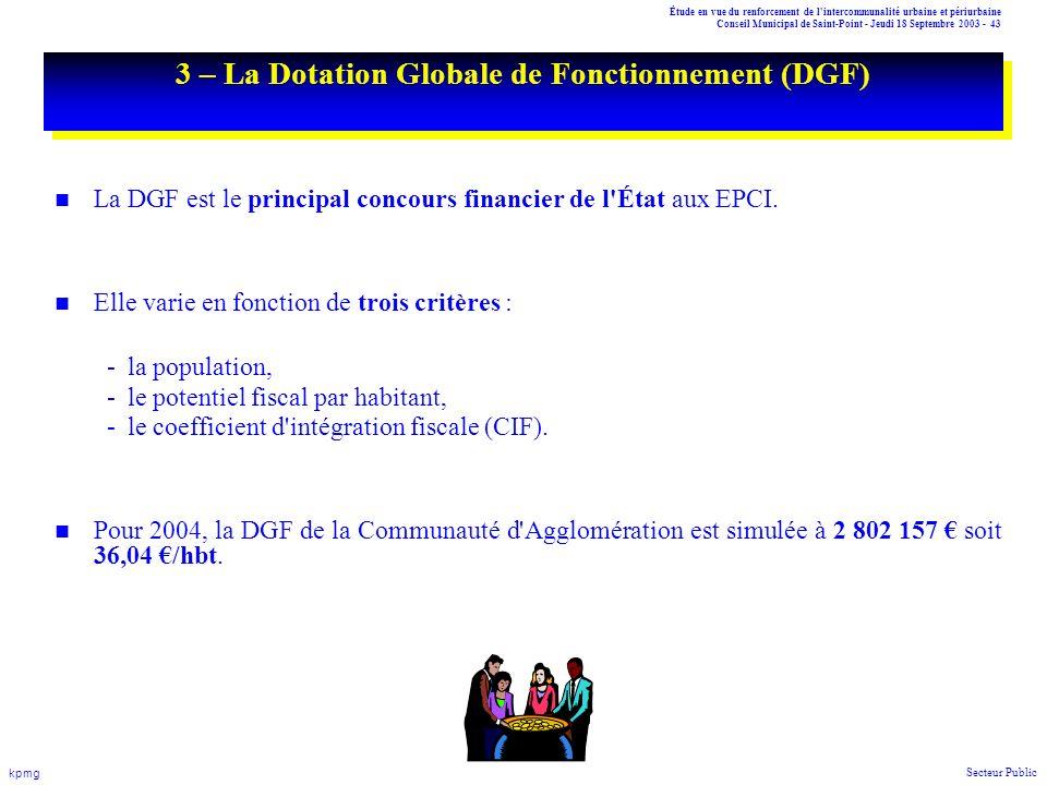 Étude en vue du renforcement de l'intercommunalité urbaine et périurbaine Conseil Municipal de Saint-Point - Jeudi 18 Septembre 2003 - 43 kpmg Secteur