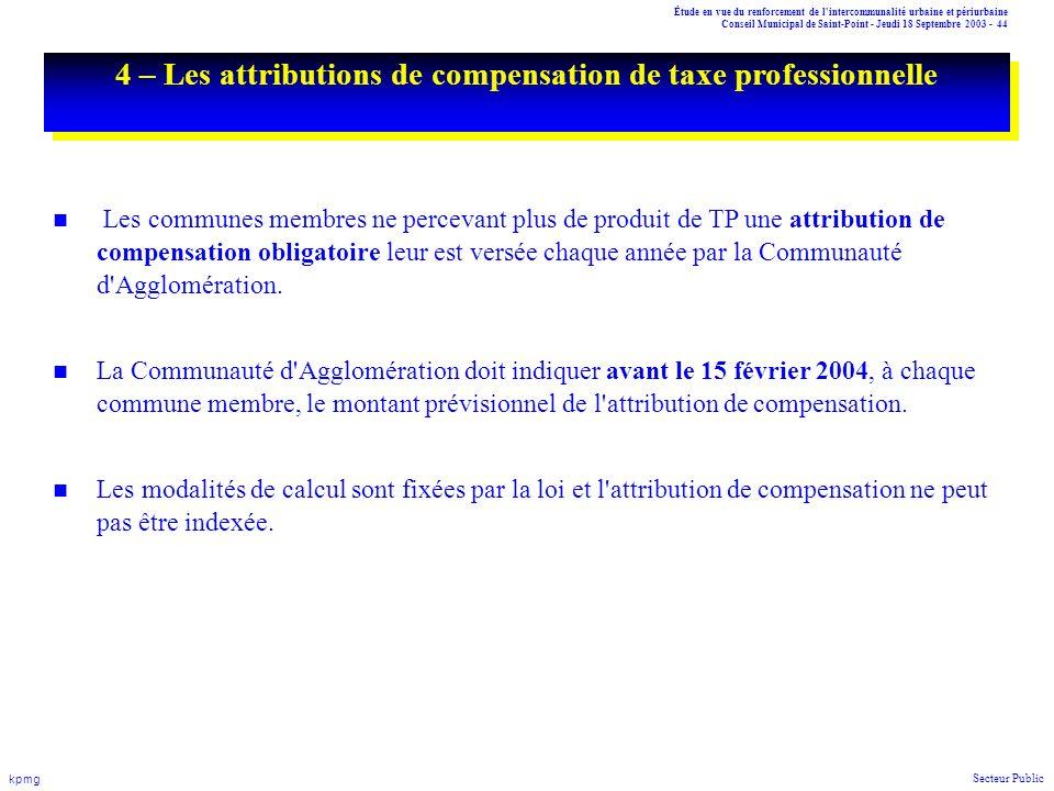 Étude en vue du renforcement de l'intercommunalité urbaine et périurbaine Conseil Municipal de Saint-Point - Jeudi 18 Septembre 2003 - 44 kpmg Secteur
