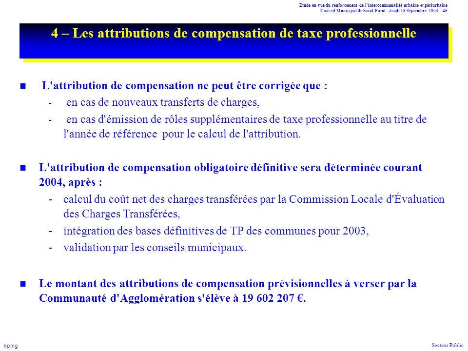 Étude en vue du renforcement de l'intercommunalité urbaine et périurbaine Conseil Municipal de Saint-Point - Jeudi 18 Septembre 2003 - 45 kpmg Secteur