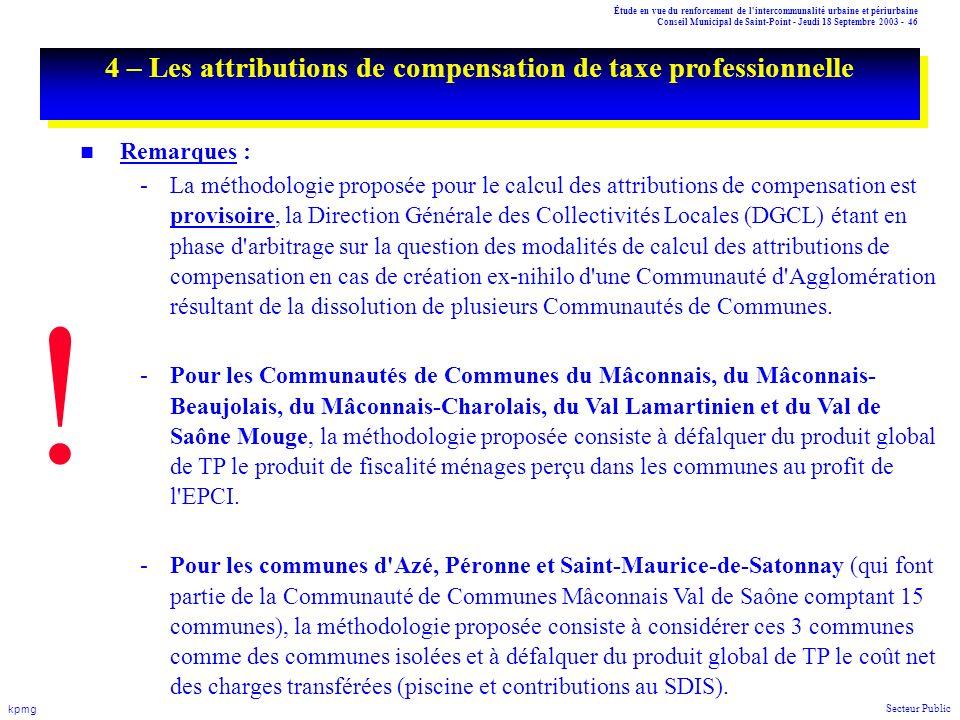 Étude en vue du renforcement de l'intercommunalité urbaine et périurbaine Conseil Municipal de Saint-Point - Jeudi 18 Septembre 2003 - 46 kpmg Secteur