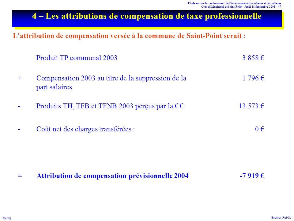 Étude en vue du renforcement de l'intercommunalité urbaine et périurbaine Conseil Municipal de Saint-Point - Jeudi 18 Septembre 2003 - 47 kpmg Secteur
