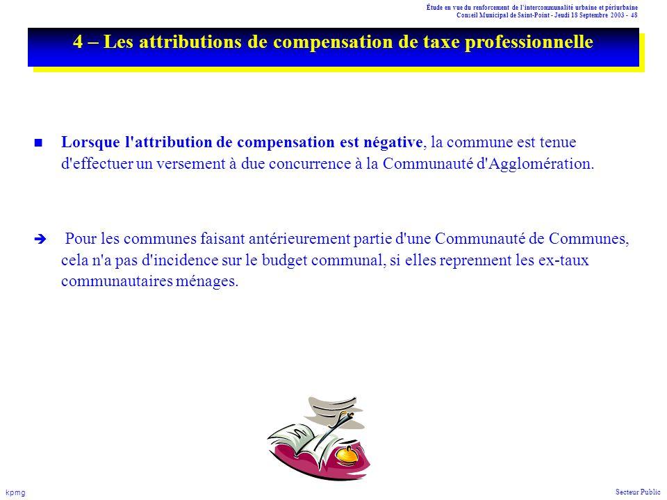 Étude en vue du renforcement de l'intercommunalité urbaine et périurbaine Conseil Municipal de Saint-Point - Jeudi 18 Septembre 2003 - 48 kpmg Secteur
